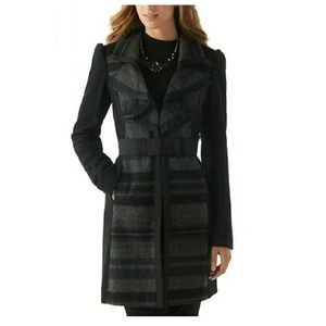 WHITE HOUSE BLACK MARKET wool plaid ruffle coat